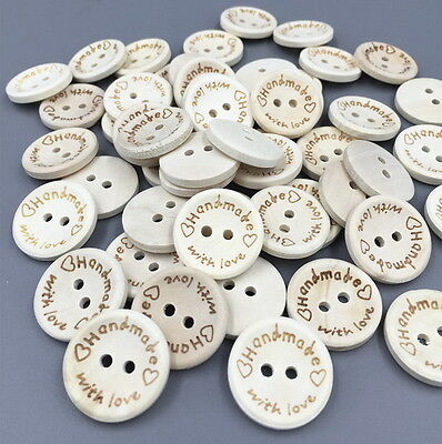 "20/50/100/250 Wooden Round 2 Hole Buttons - HANDMADE WITH LOVE - 20mm (3/4"") FF"