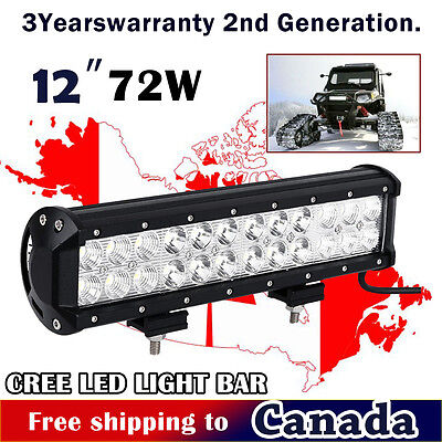 12 inch CREE LED Work Light Bar Spot & Flood Combo Off Road Truck Boat Jeep SUV