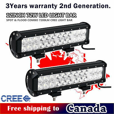 2x 12inch CREE LED Light Bar Combo Beam Work Off road Truck Boat Jeep SUV 4WD 10