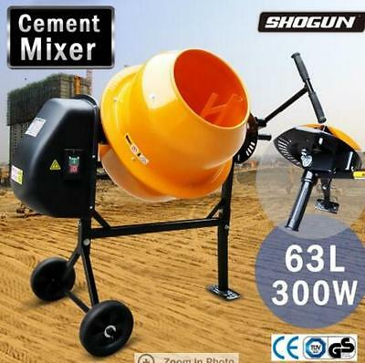 300W Powerful Motor 63L Portable Cement/Sand Mixer Double Mixing Blades