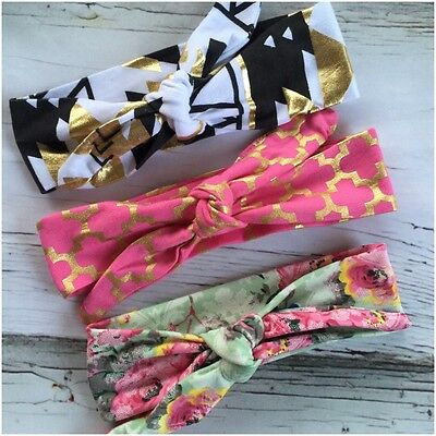 Miss GEORGIA - Newborn Baby Girls Stretch Bow Top Knot Headband