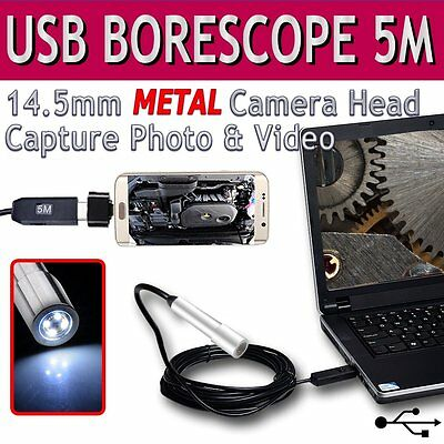 USB Endoscope Inspection Camera IP67 Metal Borescope Snake Scope Android Phone