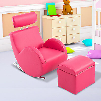 Qaba Faux Leather Kids Sofa Set Children Rocking Armchair Storage Ottoman Pink