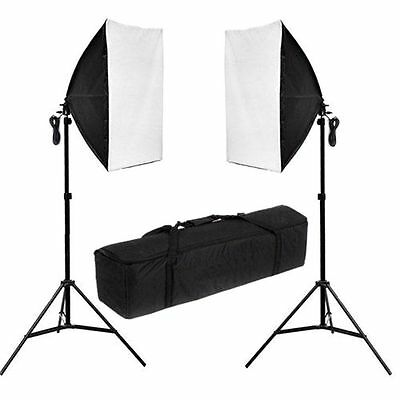 New 2 x 135w Photo Studio Continuous Lighting Softbox Soft Box Light Stand Kit 8