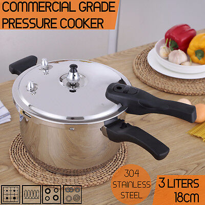 Commercial Grade Stainless Steel Pressure Cooker 3.0L (18cm) 1 Year Warranty AU