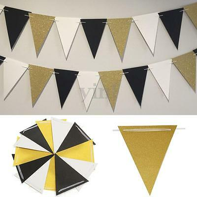 White Black Gold Glitter 12 Flags Paper Bunting Banner Party Home Decoration