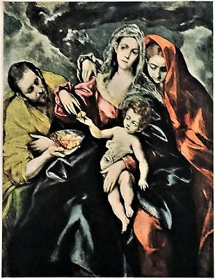 HOLY FAMILY Old World MARY Joseph Christ Child VINTAGE 1946 MATTED Picture
