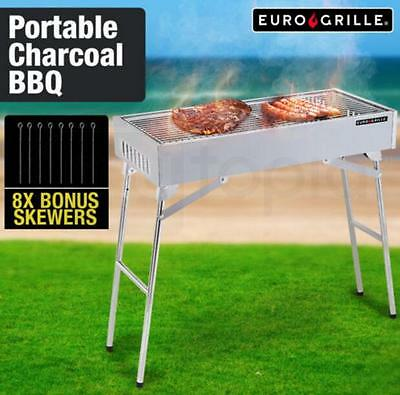 Portable Charcoal BBQ Outdoor Stainless Steel Collapsible Grill 8 BONUS skewers