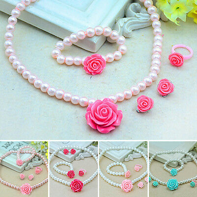 Kids Girls Child Pearl Rose Flower Necklace Bracelet Ring Ear Clips Sets Jewelry