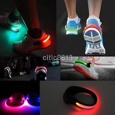 LED Flashing Shoe Light Safety Heel Clips Running Jogging Night Trainers Walk