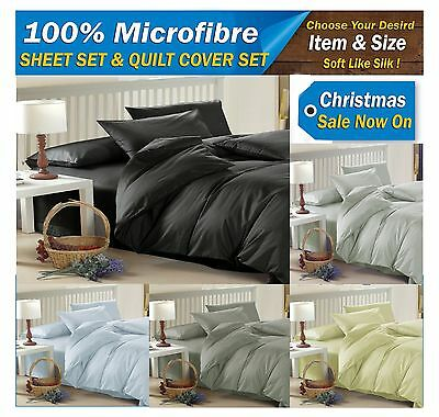 Soft Smooth Microfibre QUEEN & KING Bed Sheet Set & Quilt Doona Duvet Cover Set