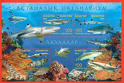 Kazakhstan 2016. Block. Sharks.Aquarium of the Pacific in Astana. New !!!