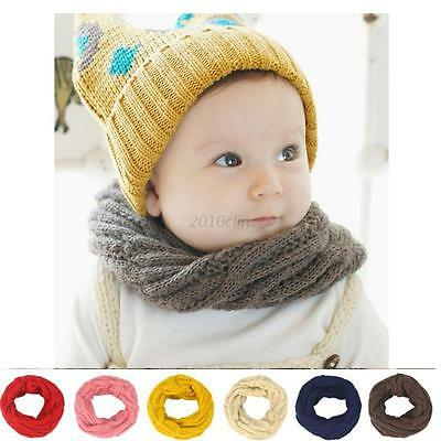 Unisex Baby Girl Boy Loop Wraps Knitted Scarves Wraps Winter Thermal Neck Warmer