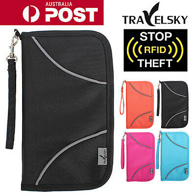 Large RFID Blocking Anti Scan Travel Passport Credit Card Wallet Holder Pouch OZ