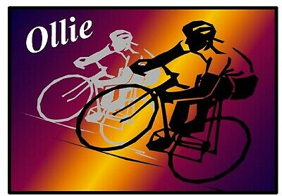 Cycling - Fun Personalised - Souvenir  Fridge Magnet - Any Names - New - Gift