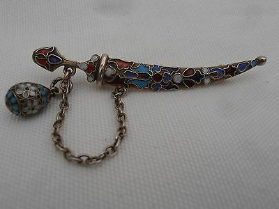Rare Imperial Russian 84 Silver Enamel Cloisonne Kindjal and Egg Charm Brooch