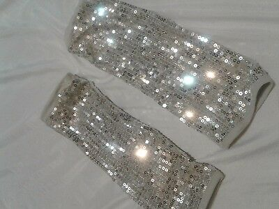 Girls ***justice*** Silver Sequin Leg Warmers