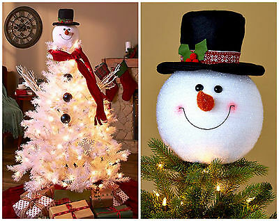 SNOWMAN CHRISTMAS TREE TOPPER w HAT CARROT NOSE