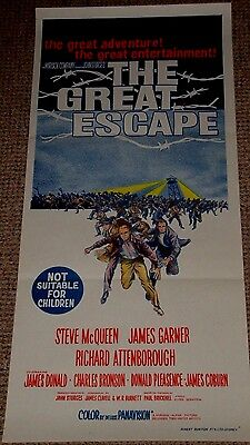 "ORIGINAL  ""The Great Escape""  Australian Daybill Poster from 1963  Steve McQueen"