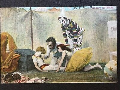"Vintage Circus Postcard - Valentines Tinted Card ""Encore Too Many"""
