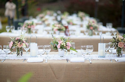 Natural Burlap Tablecloth Wedding Table Set Up Decorations Rustic Vintage Chic