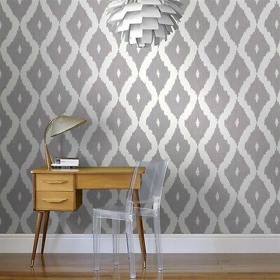 Designer Kelly Hoppen Ikat Geometric Print White / Soft Grey Wallpaper 32-351