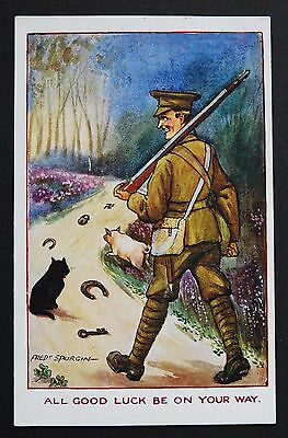 WW1 Postcard Soldier Rifle Cat Lucky Swastika Great Pulteney St Bath Somerset