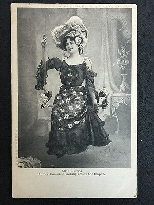 Vintage Circus Postcard - Miss Etta Disrobing Trapeze Act - Faulkner & Co