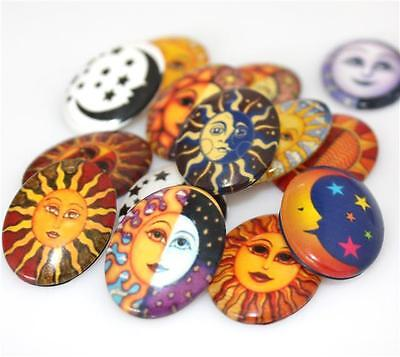 10 x OVAL SUN & MOON PRINTED CLEAR GLASS DOMED CABOCHONS 25mm x 18mm