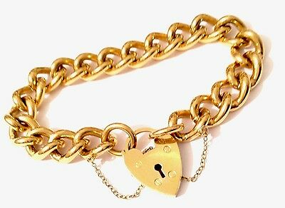 Vintage Large 9ct Gold On Metal Core Charm Bracelet With Padlock Heavy 50g