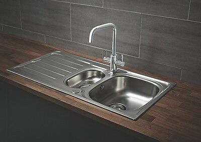Kitchen Sink & Drainer Polished Stainless Steel 1½-Bowl 1000 X 500Mm (3722K)