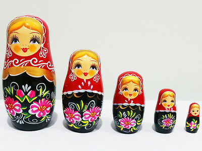 New 5Pcs/set Wooden Dolls Matryoshka Nesting Russian Babushka Toys Gift Flower