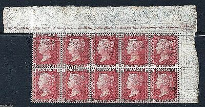 1d Penny red sg43 (plate 165) marginal block of 10 - U/M