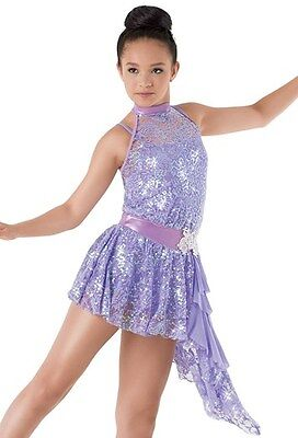 Ice skating dress Competition Figure Skating Baton Twirling Costume Sparkle Lace