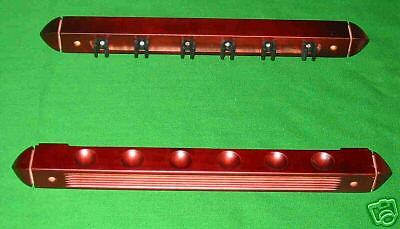 Mahogany 6 cue Pool snooker billiard table wall rack cue rest + extension holder