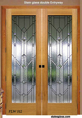 Beautiful Traditional  interior Stain glass or Pocket doors FLW 77