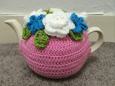 Handmade Tea Cozy Pink with white flowers, teapot cover
