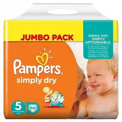 PAMPERS Simply Dry Taille 5, 11 a 25kg 66 couches