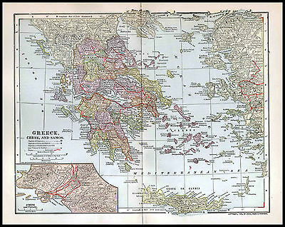 Greece Antique Map, Crete and Samos, 1903 Dodd Mead, Wall Decor to Frame