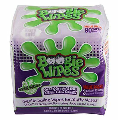 Boogie Wipes Saline Nose Wipes, Grape, 90 Ct (Pack of 12)