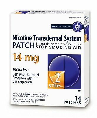 Habitrol Nicotine Transdermal System Stop Smoking Aid, Step 2, 14 mg, 14 Patches