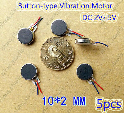 5pcs Micro flat Button Coin Vibration Ultrathin Vibrator Motor 10x2mm DC 2v~5v