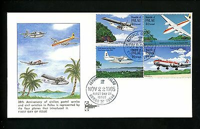 Postal History US Palau FDC #C10-13 Airmail Post Office 1985 Aviation Gill Craft