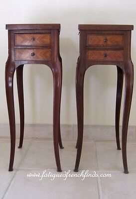 Pair of French Elegant Transition Style Marble Topped Nightstands Bedside Tables