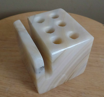 Vintage  Stone PEN and LETTER Holder Sqare Marble PAPERWEIGHT
