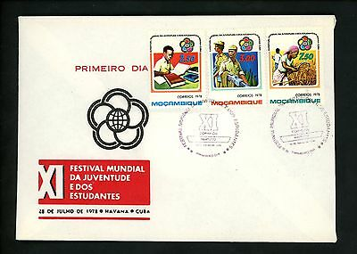 Postal History Mozambique FDC #603-605 World Youth festival military 1978