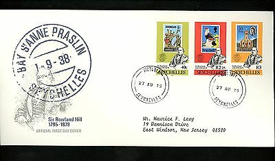 Postal History Seychelles FDC #434-436 Rowland Hill stamp on stamp 1979