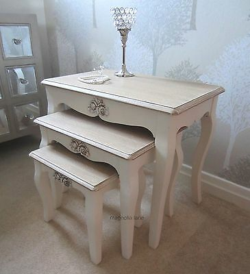Cream Nest of Tables Coffee Tables living room table Vintage Shabby Chic