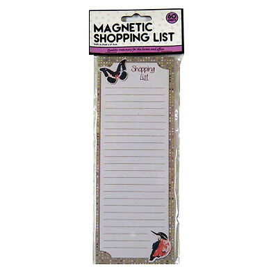 Magnetic Shopping List Notepad - Butterfly & Kingfisher Design - 50 Sheets
