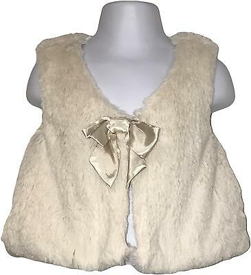Used Baby Girl's Emma Bunton Faux Fur Cream Armless Jacket Age 2-3 Years (C.E)